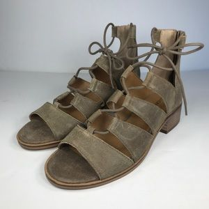 Lucky Brand Heels Gladiator Lace Up Brown Zip Shoe
